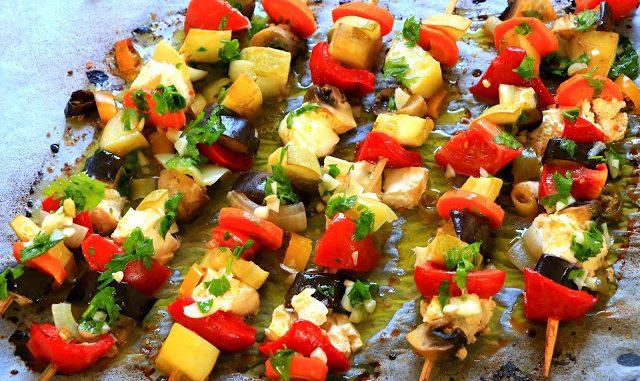 Зеленчукови шишчета със сирене фета