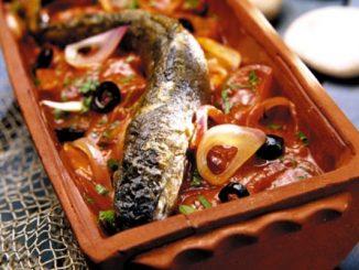 Печена риба на керемида рецепта