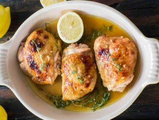 Печено пиле с лимон и мащерка