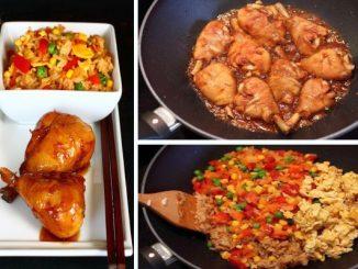 Глазирани пилешки бутчета със запържен ориз и яйца по кантонски